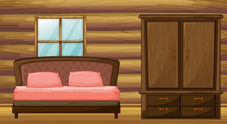 Illustration of a bed and a wardrobe in a room Vector