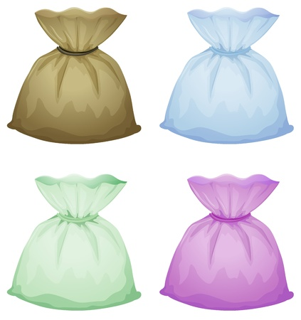 Illustration of pouches on a white background Vector