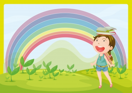 Illustration of a smiling girl and a rainbow in a beautiful nature Vector