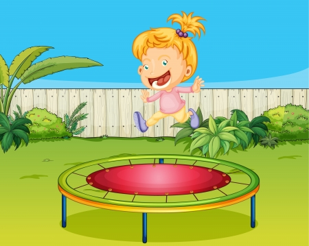 Illustration of a girl jumping on a trampoline in a beautiful garden Vector