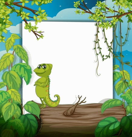 Illustration of a smiling chameleons and a white board in a beautiful nature Vector