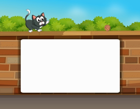 Illustration of a cat and a white board in a beautiful nature Stock Vector - 17183452