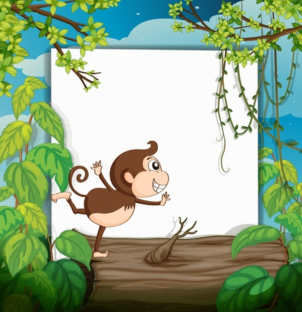 zoo dry: Illustration of a smiling monkey and a white board in a beautiful nature