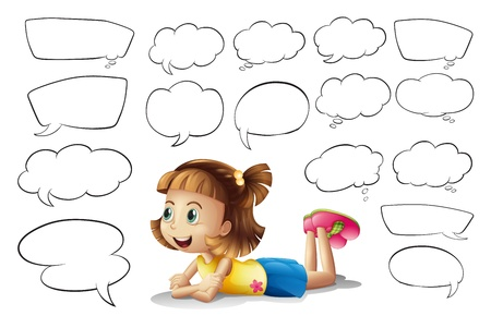 Illustration of a smiling girl and speech bubbles on a white background Vector