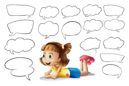 niños pensando: Ilustración de una niña sonriente y globos de texto sobre un fondo blanco Vectores