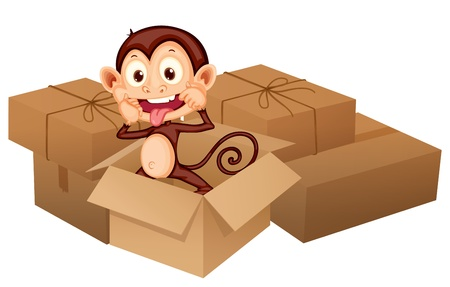 Illustration of a smiling monkey and boxes on a white background Stock Vector - 17183454