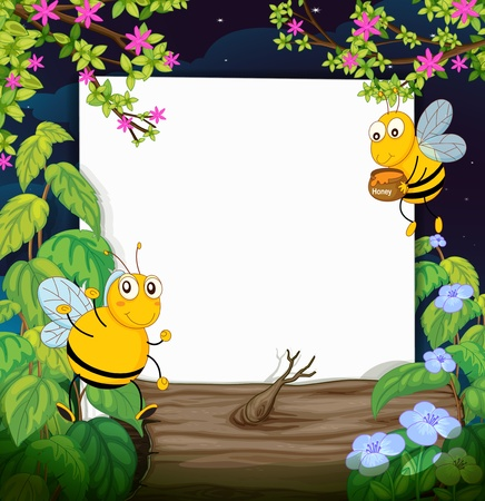 dry flies: Illustration of honey bees and a white board in a beautiful dark night