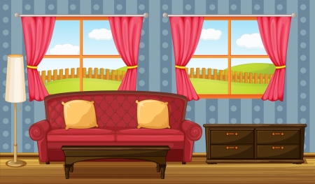 window curtains: Illustration of a red sofa and side table in a room
