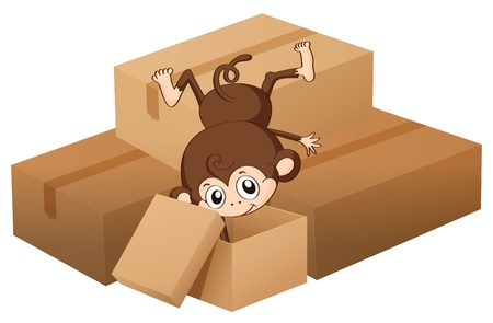 Illustration of a monkey and boxes on a white background Stock Vector - 17183444