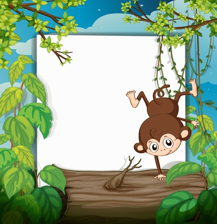 Illustration of a smiling monkey and a white board in a beautiful nature Stock Vector - 17183492