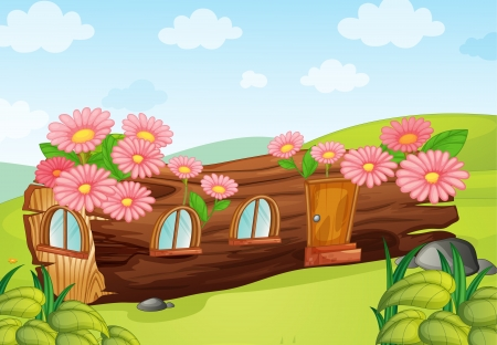 flora fauna: Illustration of a wood house in a beautiful nature