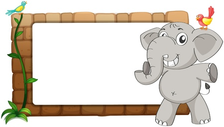 message board: Illustration of a white board, an elephant and birds on a white background Illustration