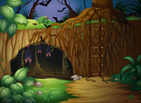 halloween cartoon: illustration of a cave and bats in a beautiful forest Illustration