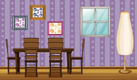dinning table: Illustration of a dinning table and a lamp in a room
