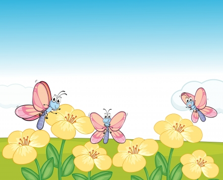 Illustration of flying butterflies in a beautiful nature Stock Vector - 17183450