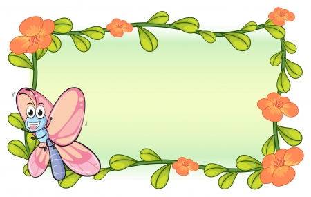 Illustration of a butterfly and a flower plant frame on a white background Stock Vector - 17183451