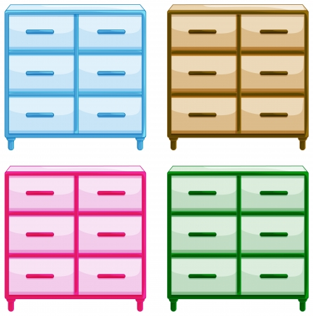 Illustration of  tables with drawers on a white background Stock Vector - 17183432