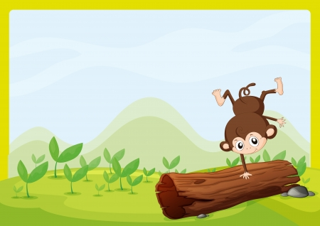 Illustration of a monkey dancing on a dry trunk in a beautiful nature Stock Vector - 17183483