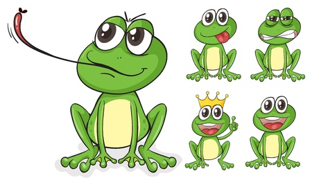 Illustration of green frogs on a white background Vector