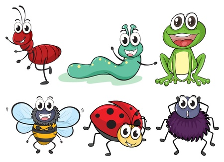 cartoon larva: Illustration of various insects and animals on a white background