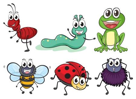 abeja caricatura: Ilustración de diversos insectos y animales sobre un fondo blanco Vectores