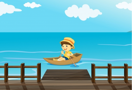 Illustration of a happy boy riding in a boat