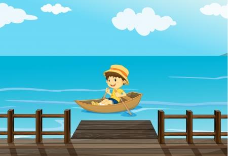 canotaje: Ilustraci�n de un ni�o feliz en un bote Vectores