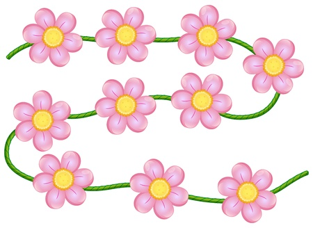 Illustration of vine flowers on a white background Vector