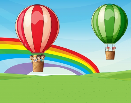 Illustration of two air ballons flying with kids Vector