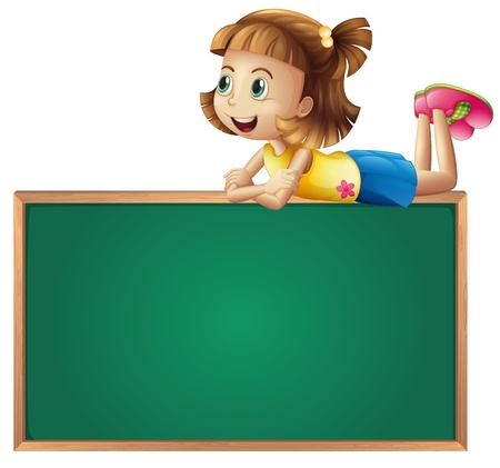Illustration of a young girl on the top of a black board on a white background Stock Vector - 17339012