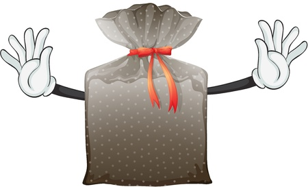 imaginative: Illustration of a polka dot pouch with ribbon on a white background