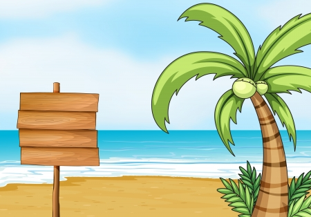 Illustration of a blank signpost and coconut tree with the beach as background.