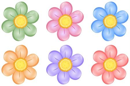 blumen cartoon: Illustration von bunten Blumen auf einem wei�en Hintergrund Illustration