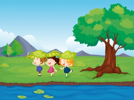 young leaf: Illustration of three young girls playing beside the pond