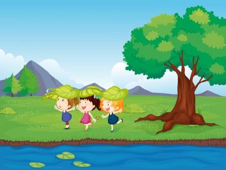 Ilustración de tres chicas jóvenes que juegan al lado de la charca