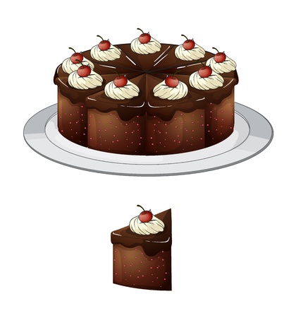 Illustration of a chocolate cake and a slice with cherries on top on a white background Stock Vector - 17338938