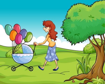 bush babies: Illustration of a mother and child strolling in a greenery side  Illustration
