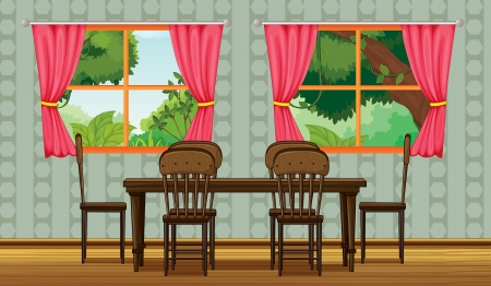 dining table and chairs: Illustration of a colorful dining room