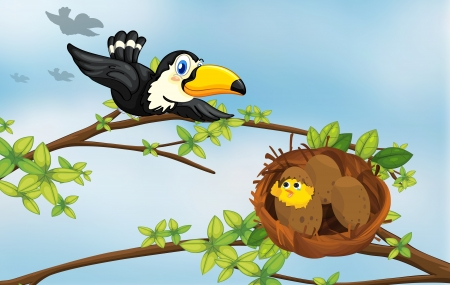 pic  picture: Illustration of a bird flying towards its nest  Illustration