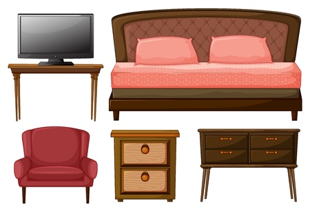 closets: Illustration of a television on a table, twin bed, chair, side table and a work table on white background.