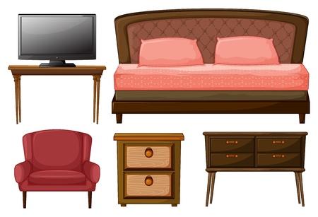 red couch: Illustrazione di un televisore su un tavolo, letto matrimoniale, poltrona, tavolino e un tavolo di lavoro su sfondo bianco.