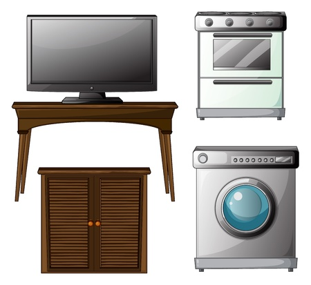 Illustration of house appliances on a white background Stock Vector - 17338992