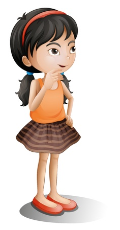 illustration of a young girl thinking on a white background Vector