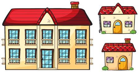 Illustration d'un grand appartement et deux petites maisons sur un fond blanc