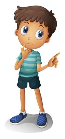 Illustration d'un jeune garçon réflexion sur un fond blanc