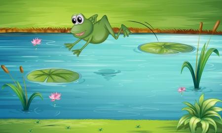 rana caricatura: Ilustración de un Fron saltando de nenúfar a otro nenúfar Vectores