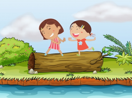 Illustration of two children playing on top of a log Vector