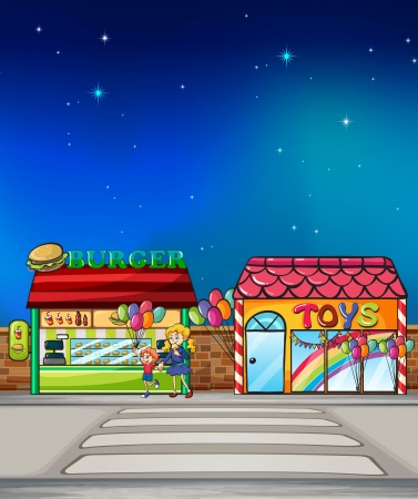 Illustration of a mother and child walking near the burger junction and toy store Stock Vector - 17339133
