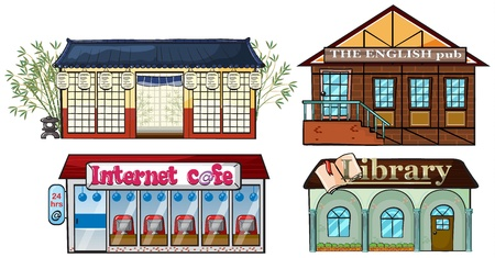 book shop: Illustration of Asian building, English Pub Internet Cafe and a library on white background.