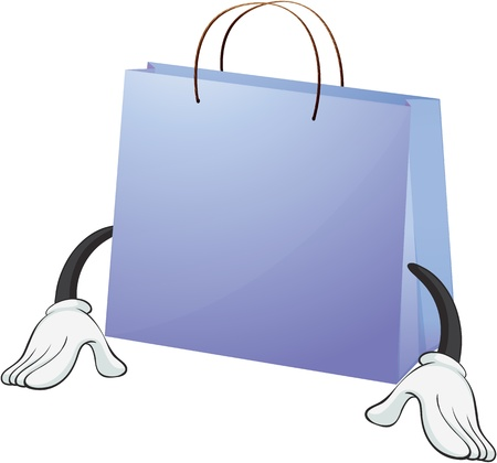 An illustration of a blue bag on white background Vector